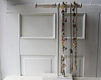 """Tall Necklace Stand 26"""" Chippy White Architectural Salvage - Necklace Holder - Necklace T Bar - Necklace Display for Long Necklaces Two RTS"""