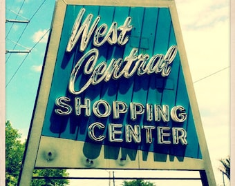 "West Central Shopping Center Sign St. Petersburg, Florida Photo Print - 8"" x 8"""