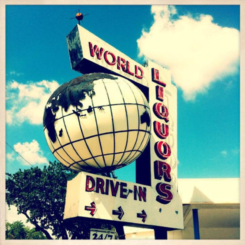 World Liquors Sign St. Petersburg Florida Photo Print  image 0