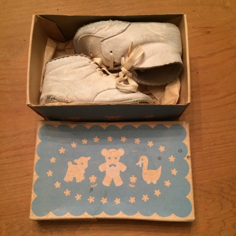 6a96cfaf8ef61 Pair of Vintage White Baby Shoes in Original Shoe Box