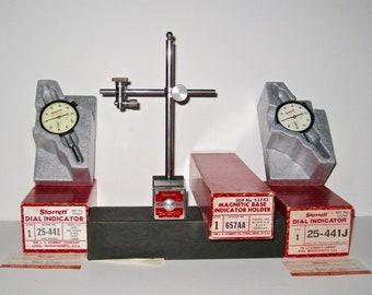 Vintage L.S.Starrett  Magnetic Base Indicator Holder 657AA, Dial Indicators 25-441J and 25-441