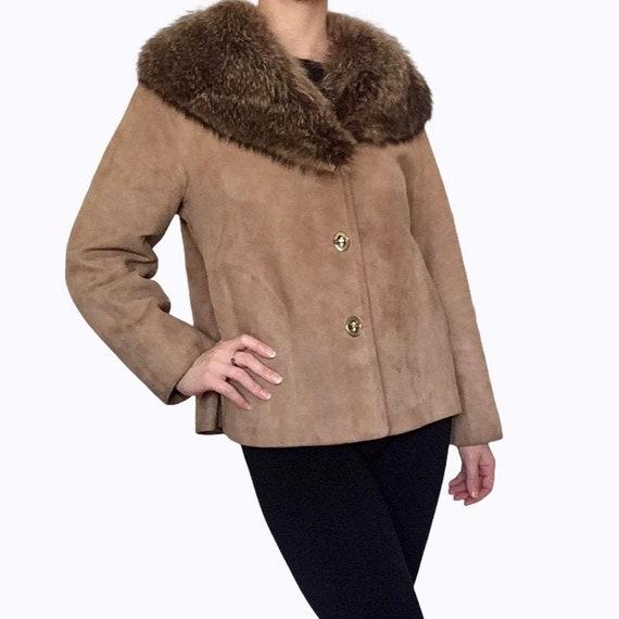 1960s Bonnie Cashin for Sills Suede Leather Fur C… - image 1