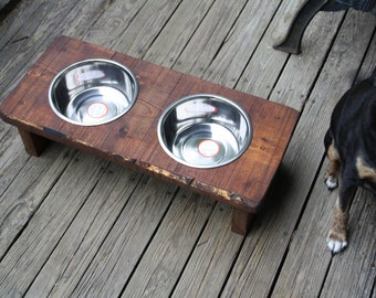Personalized Dog Feeder -Dog Bowls- Rustic Wood Elevated Pet Feeder with Stainless Steel Bowls Included - Made to Order