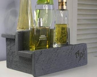 Gray Cologne Bottle Shelf- Wood shelf- Perfume Bottle Display- Made to order- Rustic Wood- Single Shelf, Double Shelf & Triple Shelf Options