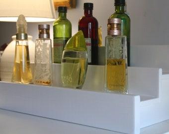 White Cologne Bottle Shelf- Wood shelf- Perfume Bottle Display- Made to order- Rustic Wood- Single Shelf, Double Shelf & Triple Shelf