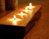 Rustic Wood Tea light Candle Holder-  4 tealight holder- Personalized Candle Holder-Unique Personalized Gift