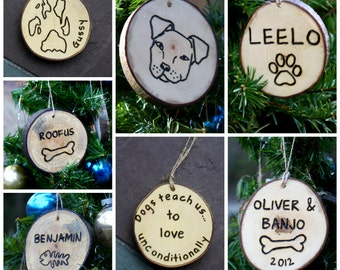 Pet Memorial Ornament- Dog Pawprint Ornament - Cat Paw Print - Hanging Natural Branch Slice with Jute tie