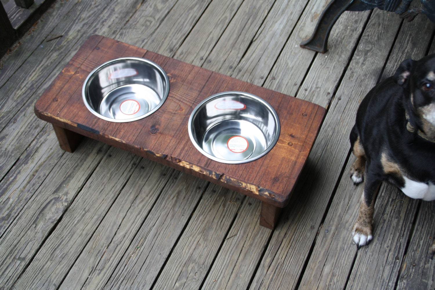 Personalized Dog Feeder Dog Bowls Rustic Wood Elevated Pet ...