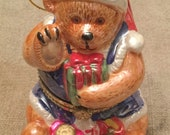 Vintage Christmas Bear Music Box