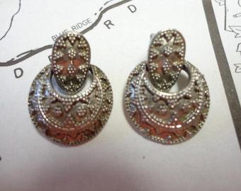 Vintage Silver Circle Drop Earrings