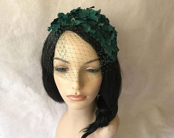 Emerald Green Vintage style 1950 s -1960 s Half Hat with veil 7589458f976