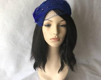 0014ddf3e59602 Royal blue Felt fascinator, Royal blue winter fascinator hat, Royal blue  pillbox hat, Royal blue church hat, Royal blue wool hat, Half hat