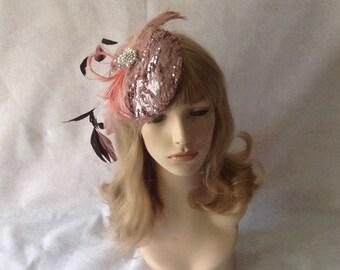 Rose Gold Blush Kentucky Derby feather round fascinator hat with birdcage  veil 6d711f183fd