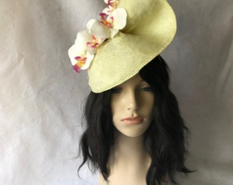 Yellow Kentucky Derby Orchid Fascinator Hat For Races Melbourne Cup The Royal Ascot Wedding FascinatorHeadband