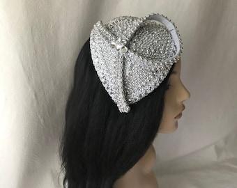 1960s White Feather Veil Fascinator  Rhinestones Velvet Bow Bridal Wedding