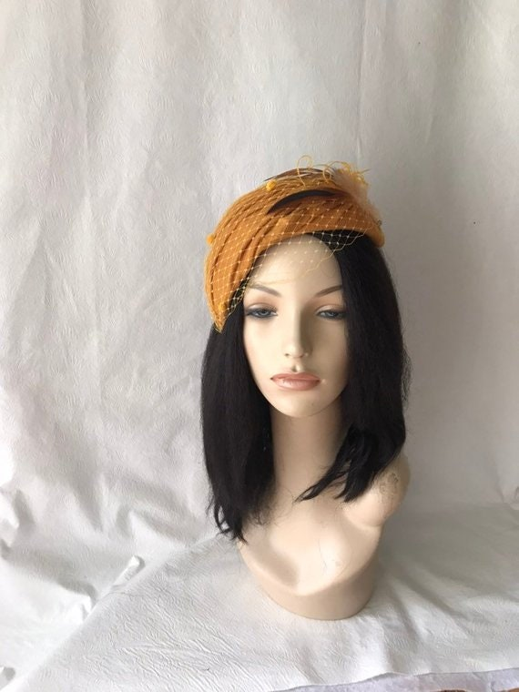 Gold Mustard Wool Fascinator Winter Elegant Women Pillbox Hat  44b37acd5421