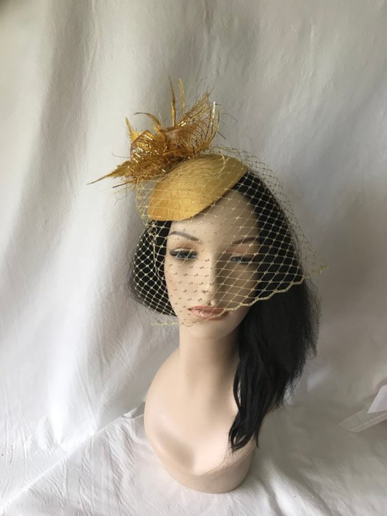 393d8d9b14663 Gold fascinator hat with gold veil Gold fascinator gold | Etsy