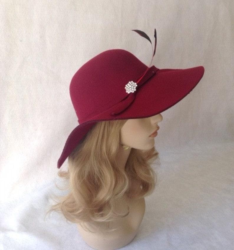 Burgundy Floppy Wide Brim Hat Wine Red Fedora Hat Women  94374d38167a