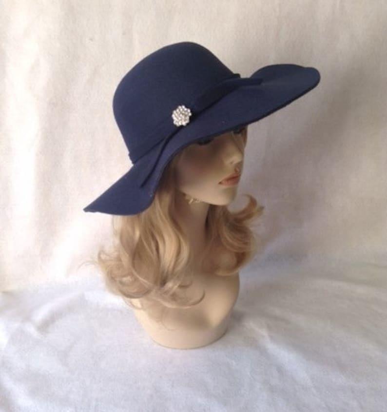 9526e89f23881 Navy Wide Brim Hat Dark Blue Floppy Hat Boho Hat Fashion