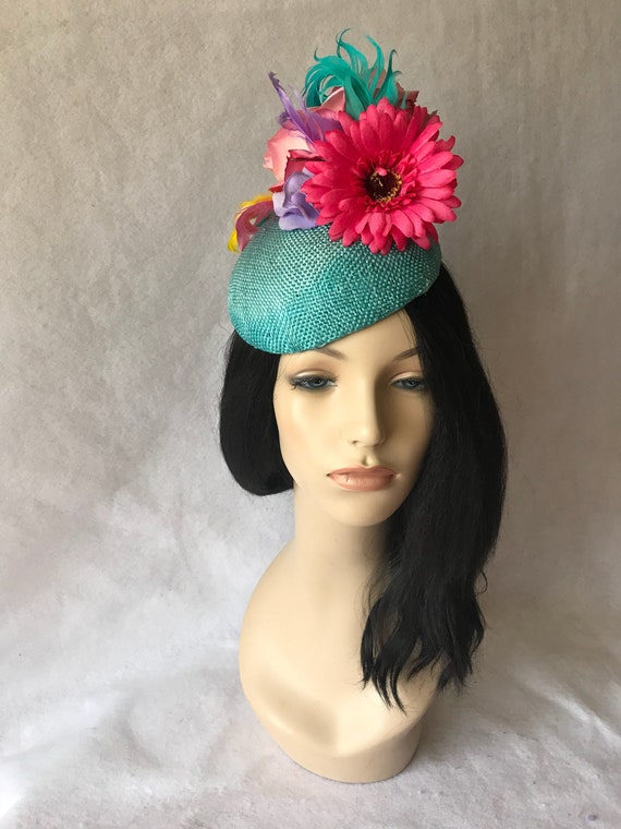 df0810f4837a2 Turquoise fascinator Kentucky Derby hat Mother s Day