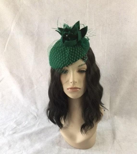 Emerald Green Fascinator Hunter Green fascinator hat Green  752744d2eab
