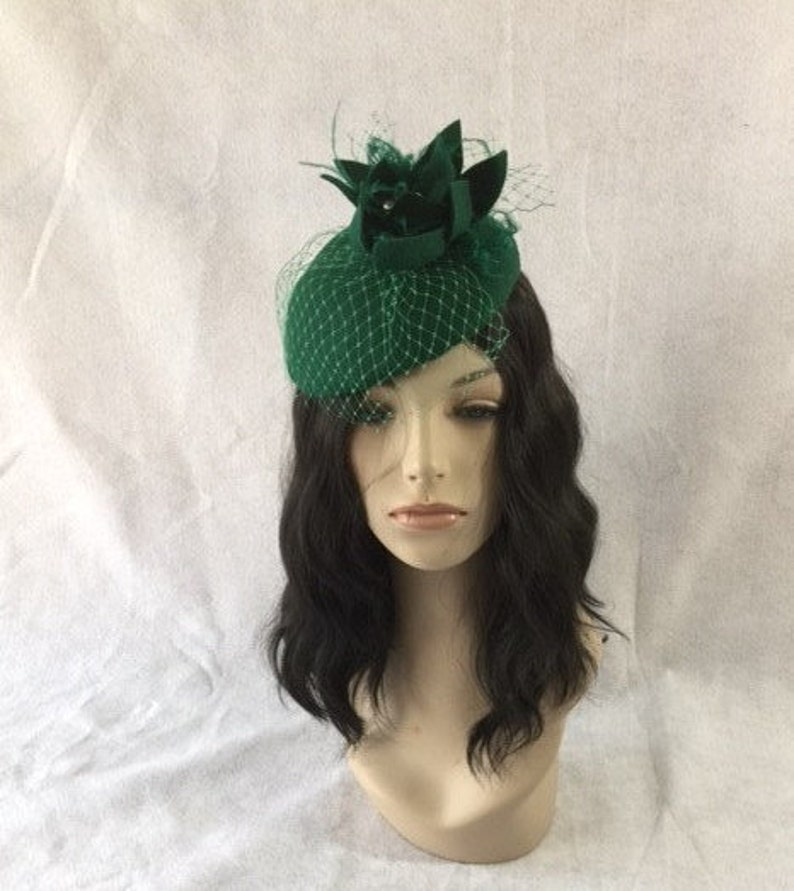 c1902f393d3 Emerald Green Fascinator Hunter Green fascinator hat Green