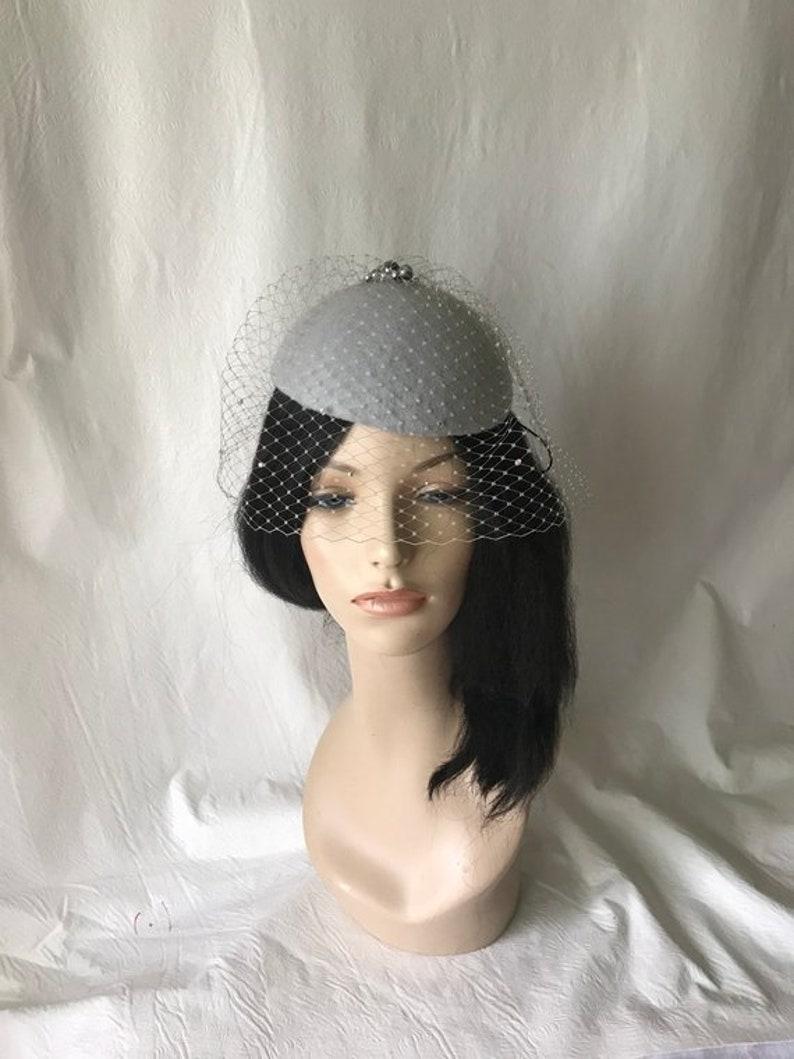 5faeb2f7636fc Gray fascinator hat with rhinestones veil Grey bridal wedding