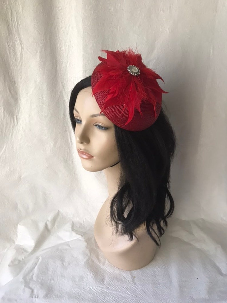 60be83d3f88d4 Red fascinator hat Kentucky Derby hat Red bridal wedding