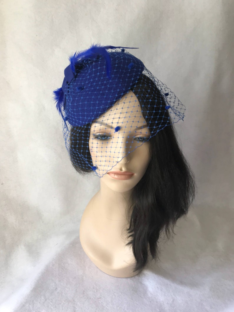 ba60fb18c7530 Blue Fascinator hat Blue Bridal fascinator Blue Felt hat