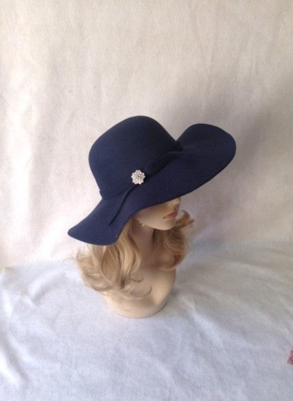 Navy Wide Brim Hat Dark Blue Floppy Hat Boho Hat Fashion  89523fab032
