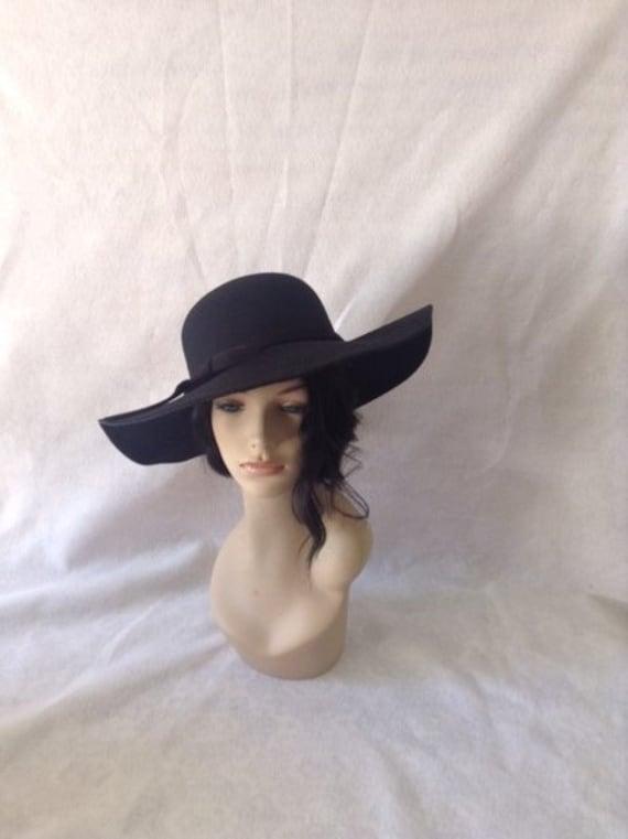 Black Wide Brim Floppy Wool Felt hatLarge Brim Black felt  ca9a84a4646
