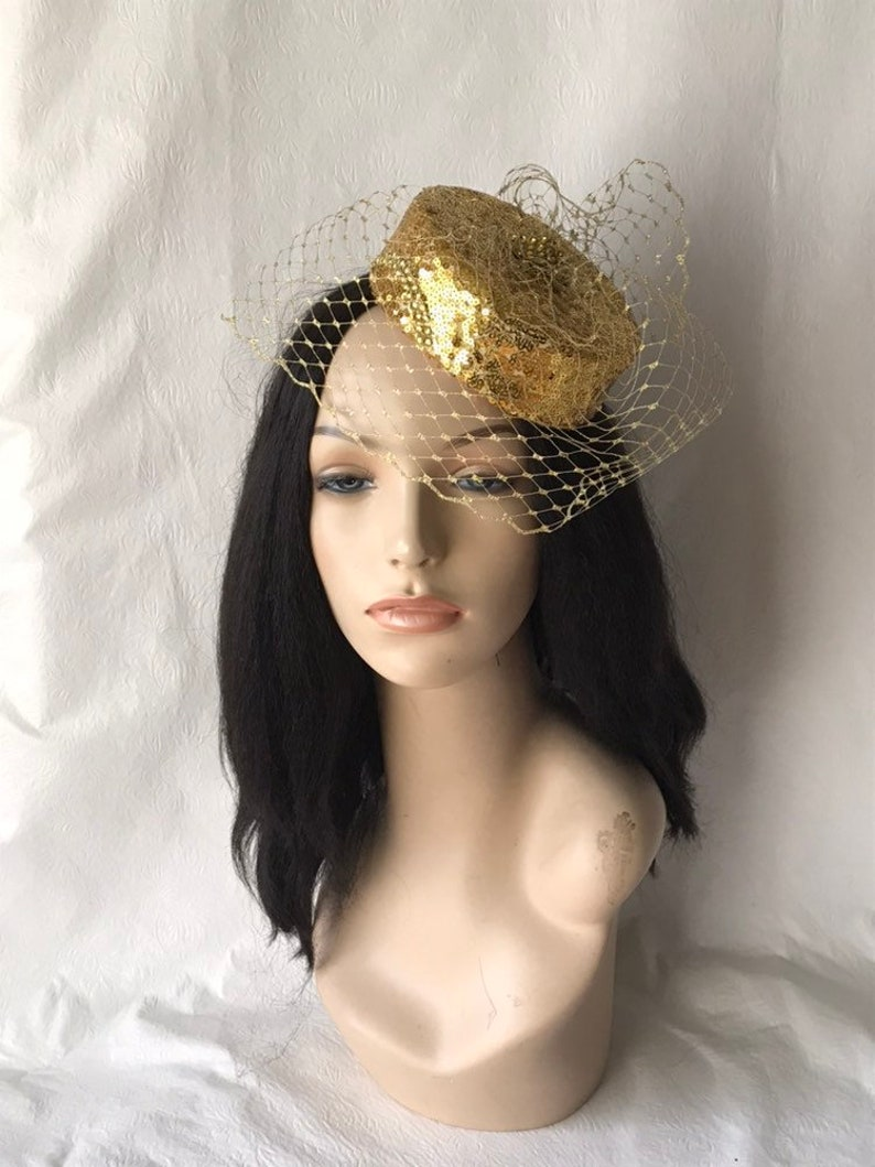 c56737f196907 1950 s Vintage Inspired Gold Mini Pillbox Wedding Hat with