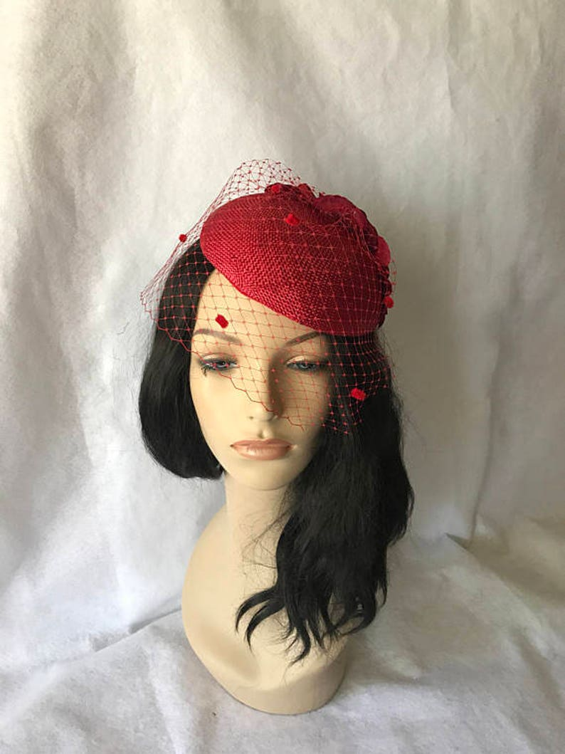 8a66a3934 Red wedding hat with veil poppy red fascinator wedding | Etsy