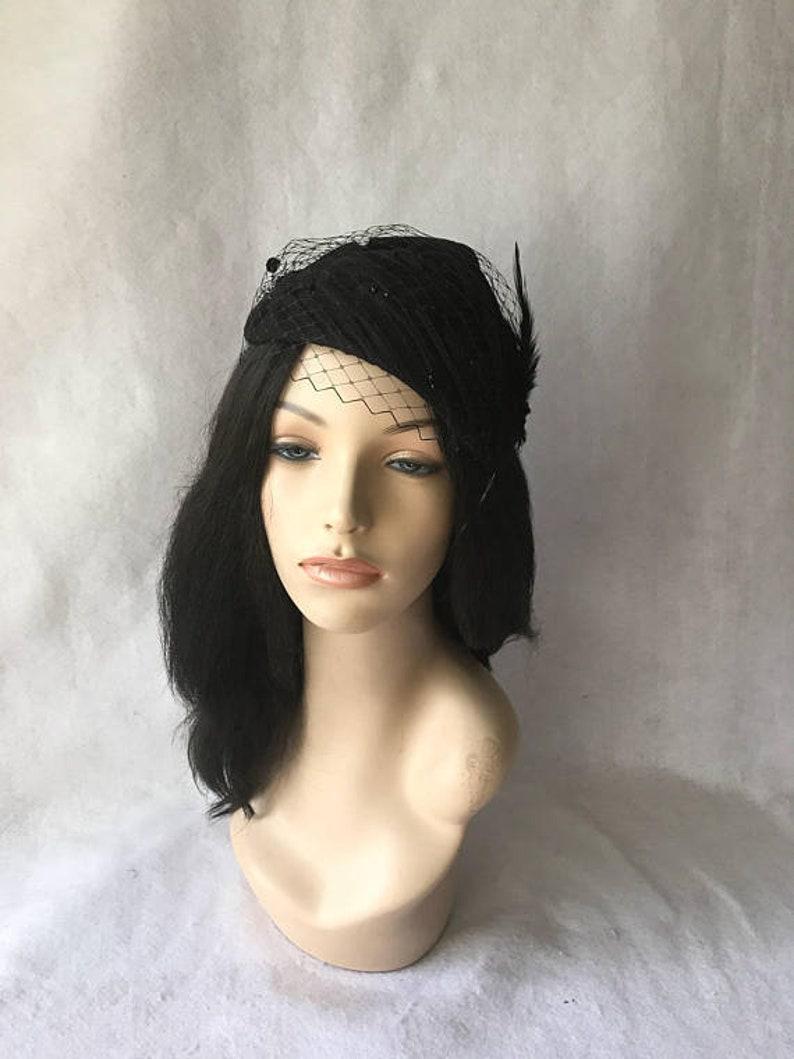 c566010e876e4 Black Felt fascinator Black winter fascinator hat Black