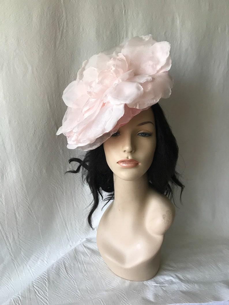 cabafd6ac99e7 Oversize Flower fascinator Blush pink fascinator hat Oaks