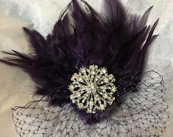 Dark Eggplant fascinator, dark eggplant feather hair comb, bridesmaid hair clip, wedding hair accessories, Gatsby feather fascinator,