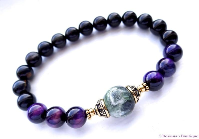 prosperity bracelet seraphinite bracelet Seraphinite and tiger eye bead bracelet tiger eye bracelet chakra bracelet healing bracelet