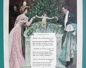 COLOR 1890s Victorian Era Antique Print Xylograph Engraving MERRY CHRISTAMS Young Couple Xmas Tree /& Cherub