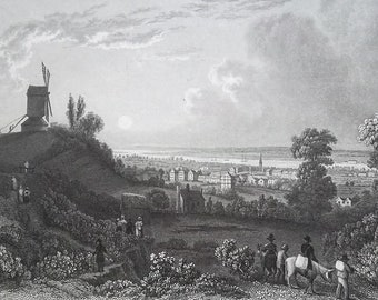ENGLAND Fravesend on Thames River - 1835 Intaglio Engraving with Ornamental Border
