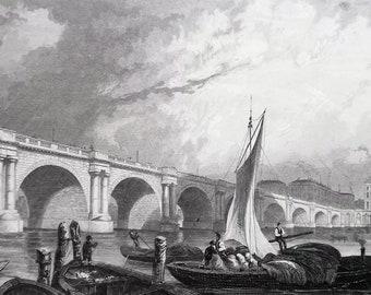 ENGLAND London Waterloo Bridge Thames River - 1835 Intaglio Engraving with Ornamental Border