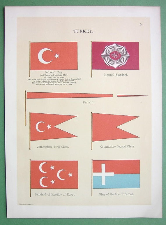 Flags Of Turkey Commodore Isle Of Samos Egypt Khedive Standard Etsy