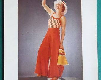 BEACH GIRL Advertisement for English Paper Making Company Inveresk - 1934 COLOR Print Vintage