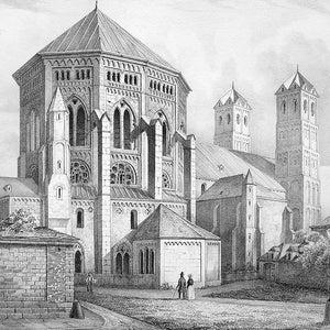 Lawrence Church GERMANY Nuremberg Nurnberg Notre Dame Cathedral St 1843 SUPERB Original Lithograph Print