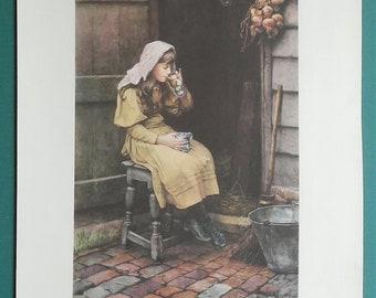 YOUNG GIRL Blowing Soap Bubbles - 1933 COLOR Print Vintage