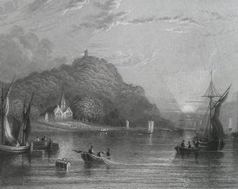 ENGLAND Erith on Thames River - 1835 Intaglio Engraving with Ornamental Border