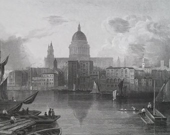 ENGLAND London St. Paul's Cathedral from Bankside Thames River - 1835 Intaglio Engraving with Ornamental Border