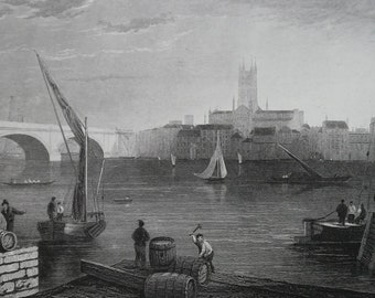 ENGLAND Southwark on Thames River - 1835 Intaglio Engraving with Ornamental Border