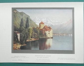 SWITZERLAND Chilon Castle - 1933 COLOR Antique Print