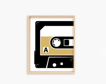 DIGITAL DOWNLOAD // cassette // side A // printable // 11x14 // retro