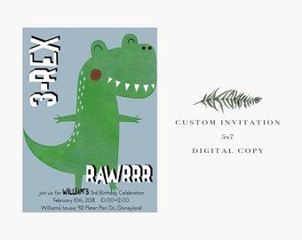 T-REX Dinosaur birthday invitation // Digital Copy // Dino // 3rd birthday // Best Seller